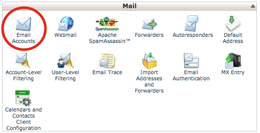 1. Click on Email Accounts icon