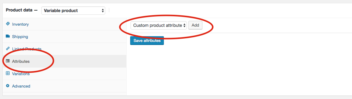 7. Click on Attributes and then select the new attribute from the drop-down under Custom product attribute and then click add.