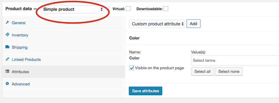 6. Scroll down to Product data and change this from Simple product to Variable product.