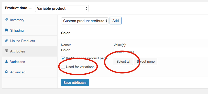 8. Click on the button that says Select all and then check the box that says Use for variations. You should now see all your values in this box.