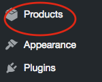 1. In your dashboard click on Products.