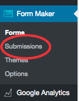 1. Login to your Dashboard then go to => Form Maker => Submissions