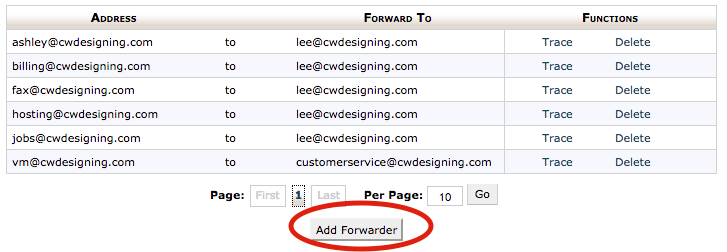 3. Click on the Add Forwarder button.