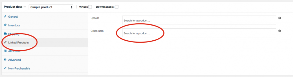 3. Scroll down to Product data and click on Linked Products and then start typing the name of the product that you want to cross-sell.