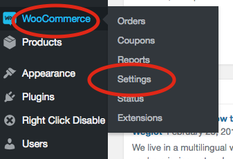 1. Go to WooCommerce and then settings in your dashboard.