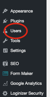 1. Within your dashboard click on Users