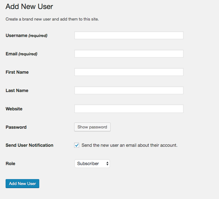 3. Fill in all the fields in this form and then click Add New User.