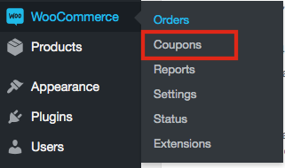 1. Go to WooCommerce => Coupons