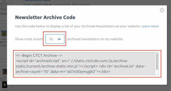 3. Next, select the number of newsletters that you would like to display on your WordPress website. Then copy the HTML code