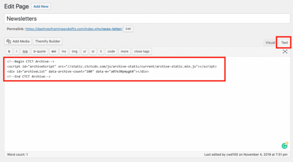 6. Add the HTML code that you just copied to your WordPress website in any text area.Once done make sure to save it.