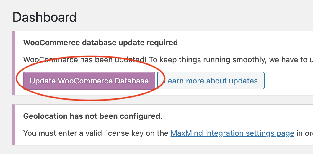 """1. Login to your dashboard and then click on the button that says """"Update WooCommerce Database"""""""