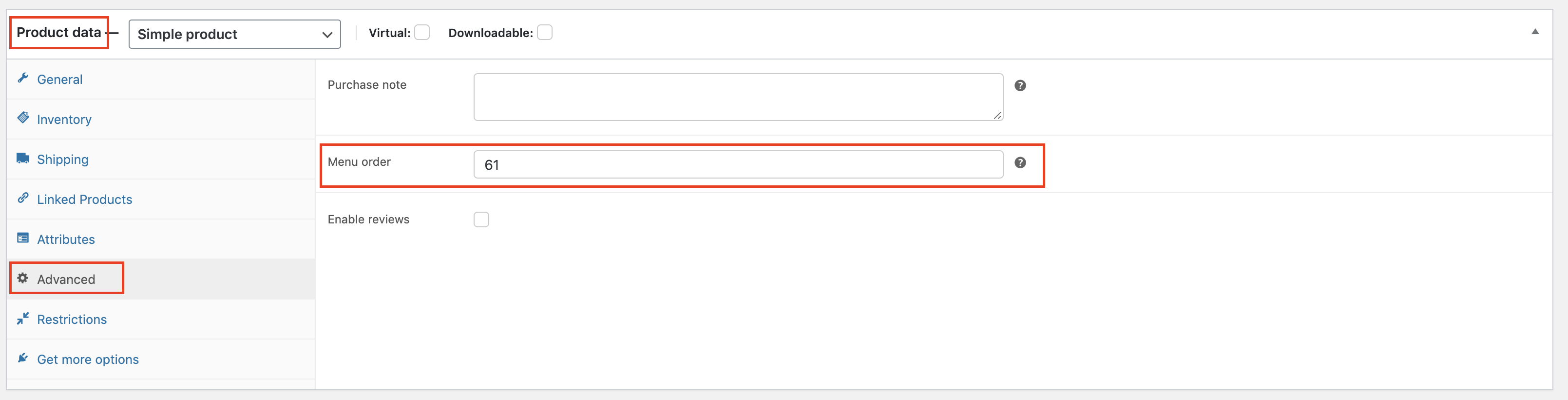 Within your product go to Product data => Advanced => Menu order. The number in this box will determine where your product will show up. Lower the number higher on the product page it will show.  NOTE: If you want to do the Drag