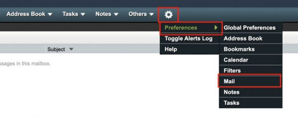 2. Click on Gear => Preferences => Mail
