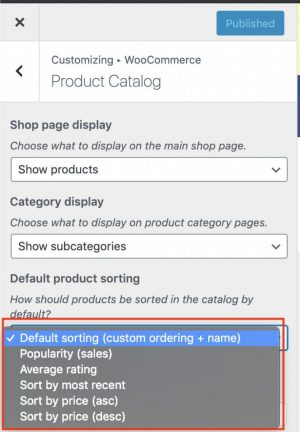 6. Select your option from the drop-down under Default product sortingIf you are wanting to customize your sort order then make sure to select Default sorting then Save your settings by click on the blue Publish button and continue with the following steps below. If you are just wanting to sort by price lowest to highest or vice versa then select one of the other options and Save your settings by click on the blue Publish button.