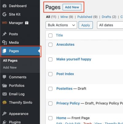 3. Next, make your new page or go to an existing page. To make a new page go to Pages then click Add new.