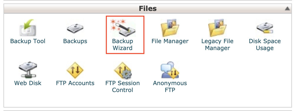 1. Once logged into your cPanel click on Backup Wizard