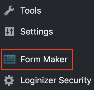 1. From within your dashboard click on Form Maker