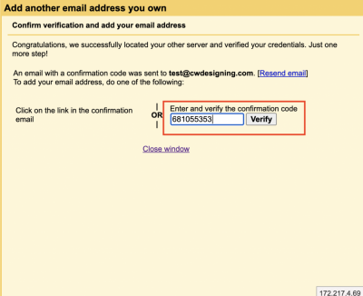 7. Paste or enter the code that you copied in the email from Gmail.